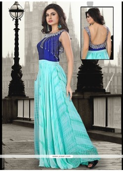 Fabulous Pure Georgette Embroidered Work Floor Length Gown