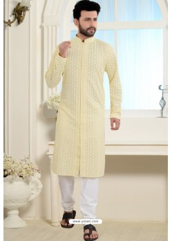 Yellow Cotton Polly Front Open Style Embroidered Kurta Pajama