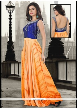 Sonorous Embroidered Work Pure Georgette Orange Floor Length Gown
