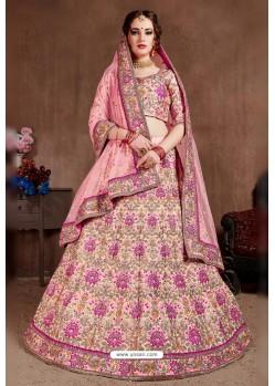 Baby Pink Taffeta Silk Embroidered Designer Lehenga Choli
