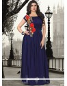 Resplendent Embroidered Work Pure Georgette Navy Blue Designer Gown