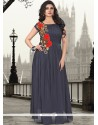 Stupendous Pure Georgette Resham Work Grey Designer Gown