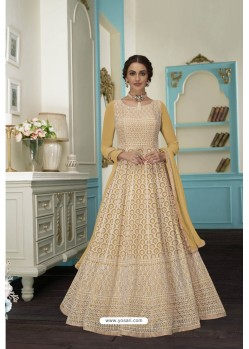 Golden Faux Georgette Sequins Worked Anarkali Suit