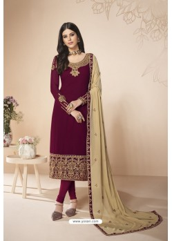 Wine Faux Georgette Stone Work Churidar Suit
