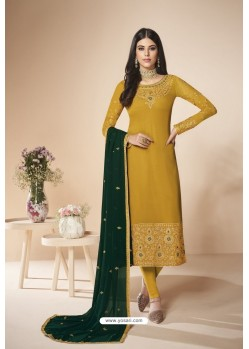 Mustard Faux Georgette Stone Work Churidar Suit