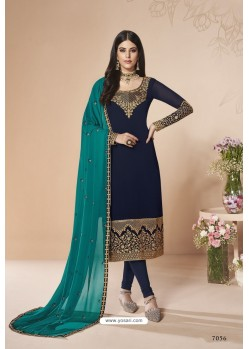 Navy Blue Faux Georgette Stone Work Churidar Suit