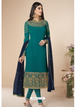Teal Faux Georgette Stone Work Churidar Suit