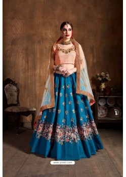 Teal Blue Raw Silk Embroidered Designer Lehenga Choli