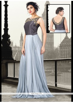 Sparkling Sequins Work Art Silk Grey Floor Length Gown