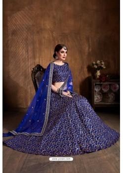 Royal Blue Raw Silk Embroidered Designer Lehenga Choli