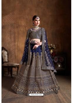 Navy Blue Raw Silk Glitter Embroidered Designer Lehenga Choli