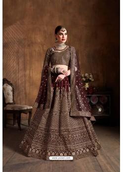 Maroon Raw Silk Glitter Embroidered Designer Lehenga Choli