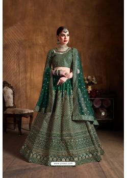 Dark Green Raw Silk Sequins Embroidered Designer Lehenga Choli