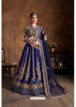 Navy Blue Raw Silk Sequins Embroidered Designer Lehenga Choli