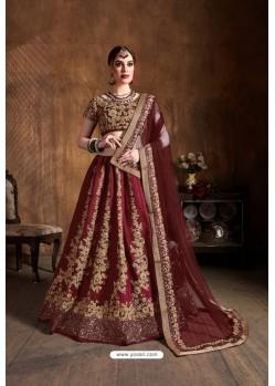 Maroon Raw Silk Sequins Embroidered Designer Lehenga Choli