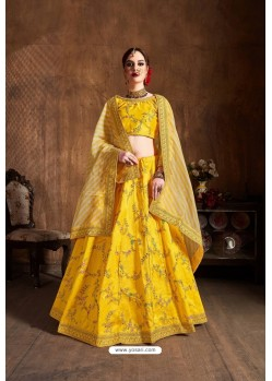 Yellow Mulberry Silk Sequins Embroidered Designer Lehenga Choli