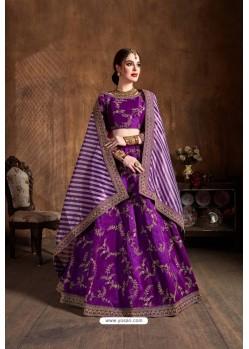 Purple Mulberry Silk Sequins Embroidered Designer Lehenga Choli