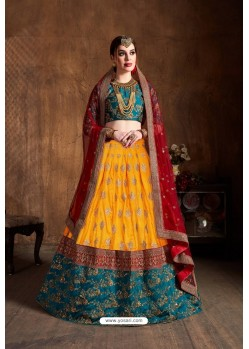 Yellow And Teal Banarasi Silk Sequins Embroidered Designer Lehenga Choli