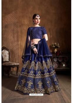 Navy Blue Art Silk Sequins Embroidered Designer Lehenga Choli