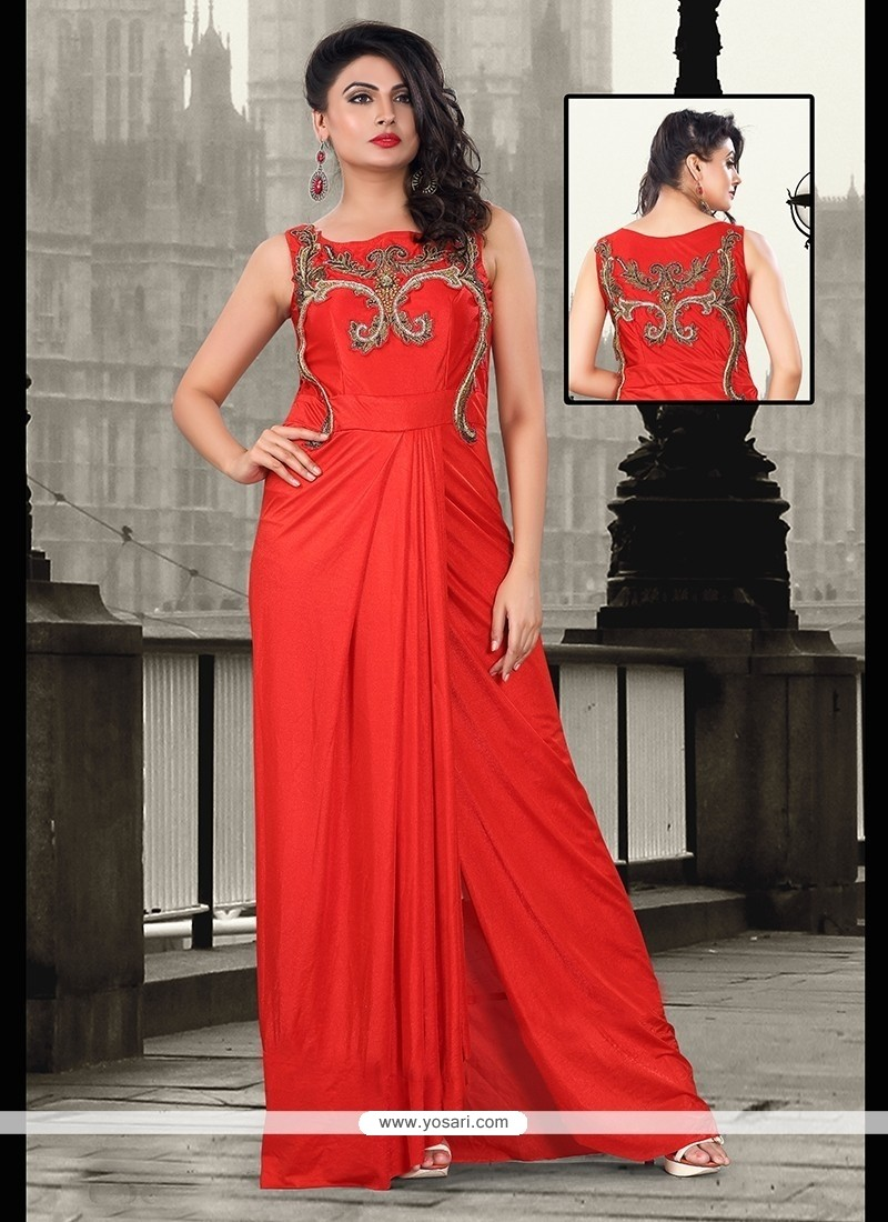 Graceful Zari Work Floor Length Gown