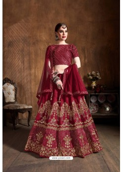 Red Raw Silk Sequins Embroidered Designer Lehenga Choli