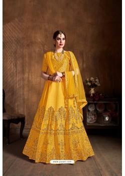 Yellow Raw Silk Sequins Embroidered Designer Lehenga Choli