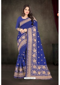 Violet Zoya Silk Zari Embroidered Saree