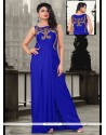 Chic Sequins Work Lycra Blue Floor Length Gown