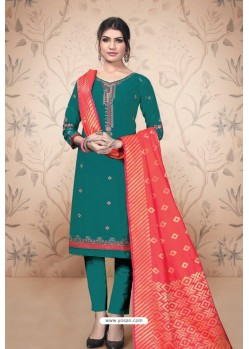 Teal Pure Cotton Zari Worked Straight Suit