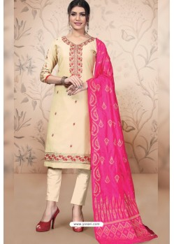 Off White Pure Cotton Zari Worked Straight Suit