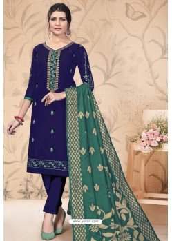 Violet Pure Cotton Zari Worked Straight Suit
