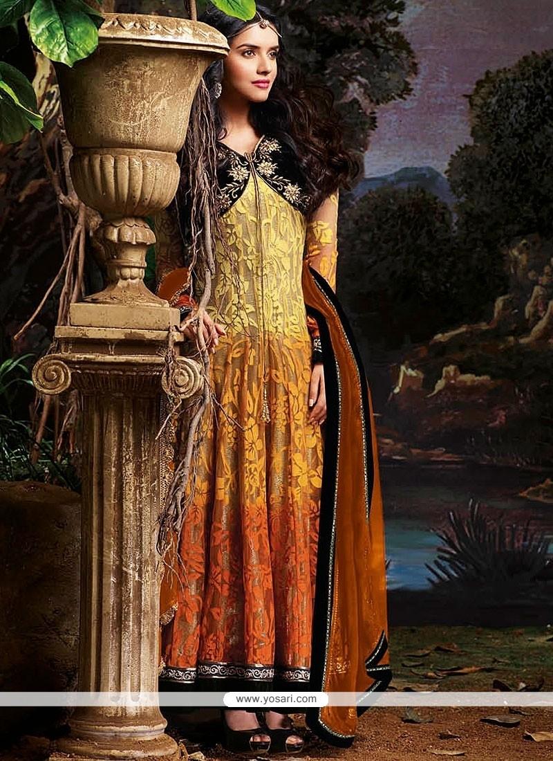 Multicolored Resham Net Long Anarkali Suits