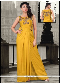 Yellow Lycra Sequins Work Floor Length Gown