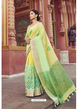 Yellow And Green Cotton Printed Saree