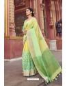 Yellow And Green Cotton Printed Saree