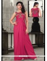 Fab Hot Pink Lycra Floor Length Gown