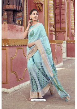 Sky Blue Cotton Printed Saree