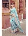 Sky Blue Cotton Printed Saree