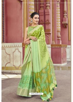 Green Cotton Printed Saree