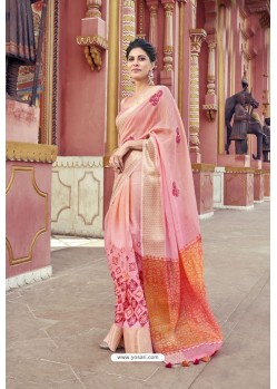 Pretty Pink Cotton Printed Saree