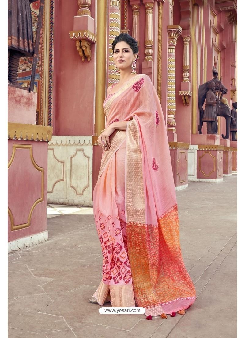 Pretty Pink Cotton Printed Saree
