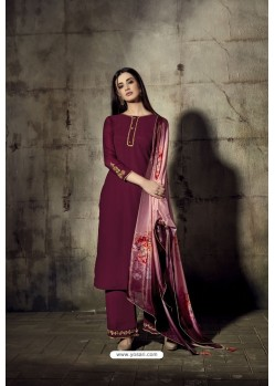 Maroon Georgette Moti Worked And Embroidered Straight Suit