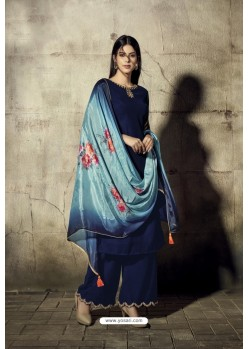 Royal Blue Georgette Moti Worked And Embroidered Straight Suit