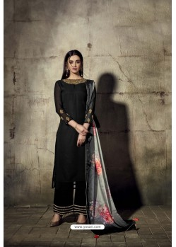 Black Georgette Moti Worked And Embroidered Straight Suit