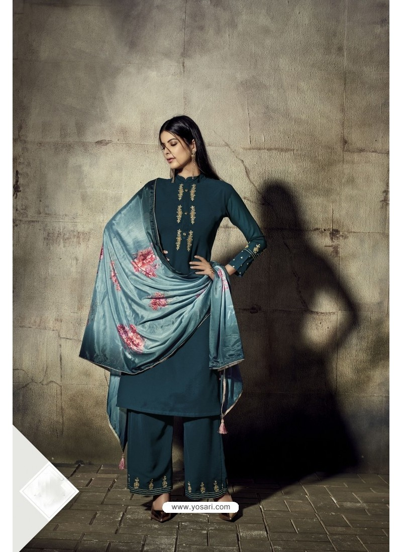 Teal Blue Georgette Moti Worked And Embroidered Straight Suit