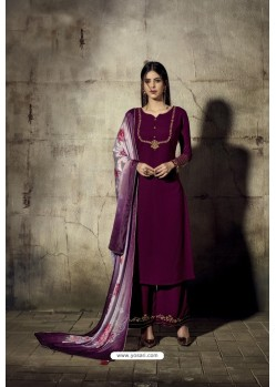 Violet Georgette Moti Worked And Embroidered Straight Suit