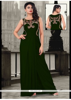 Lustrous Lycra Green Floor Length Gown