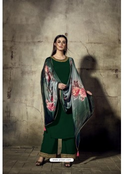 Dark Green Georgette Moti Worked And Embroidered Straight Suit