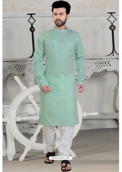Sea Green Polly Linen Thread Embroidered Kurta Pajama