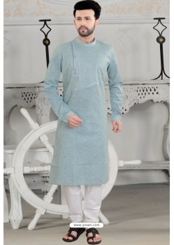 Grayish Green Polly Linen Thread Embroidered Kurta Pajama
